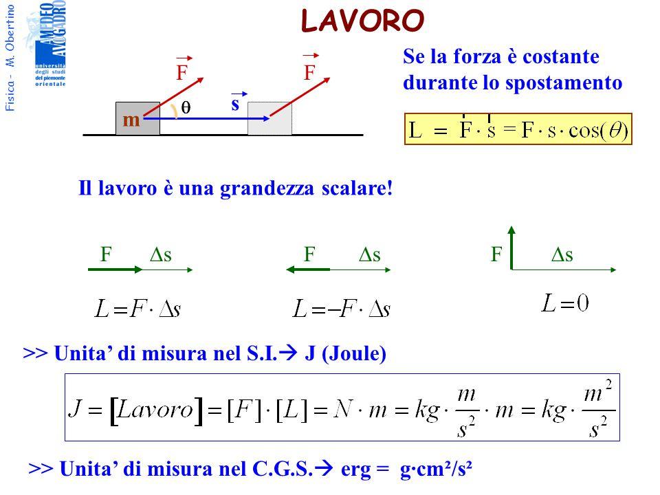 Fisica - M. Obertino LAVORO >> Unita' di misura nel S.I.  J (Joule) ss F ss FF ss m FF s Se la forza è costante durante lo spostamento  Il lav