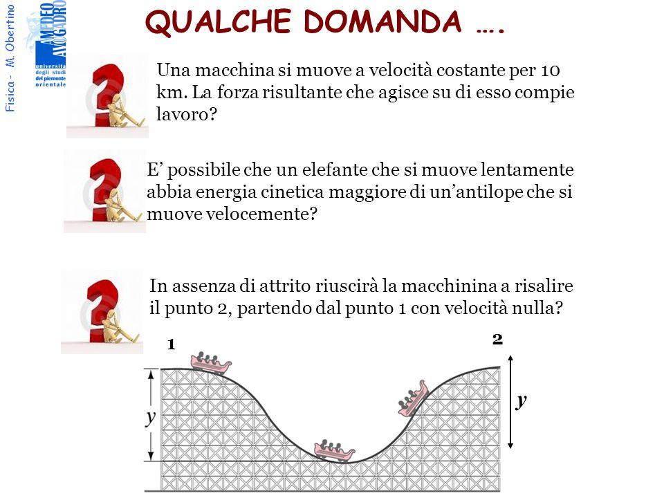 Fisica - M. Obertino In assenza di attrito riuscirà la macchinina a risalire il punto 2, partendo dal punto 1 con velocità nulla? 1 2 y Una macchina s