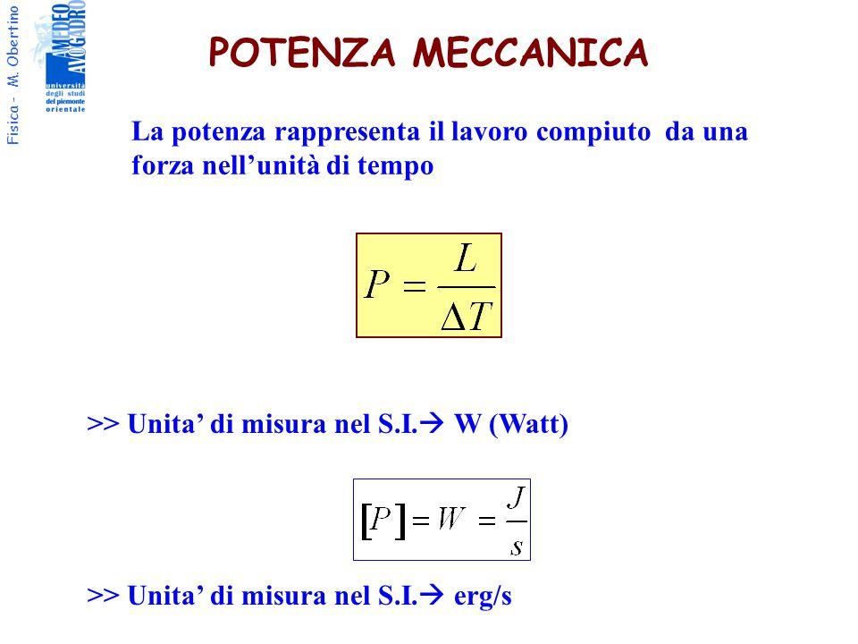 Fisica - M. Obertino POTENZA MECCANICA >> Unita' di misura nel S.I.  W (Watt) La potenza rappresenta il lavoro compiuto da una forza nell'unità di te