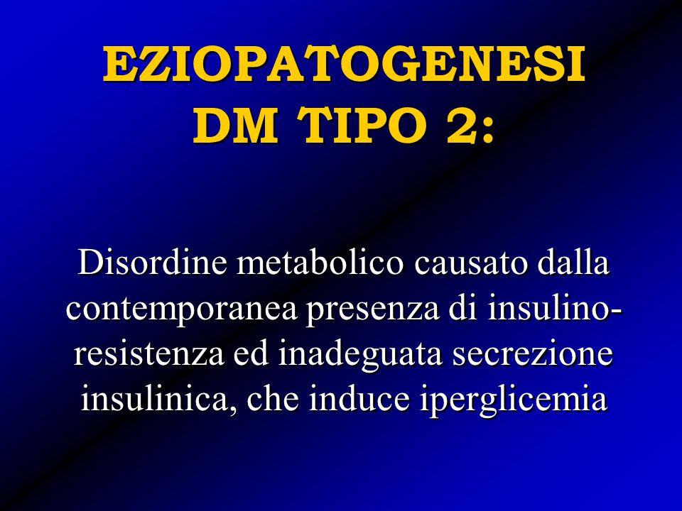 EZIOPATOGENESI DM TIPO 2: Disordine metabolico causato dalla contemporanea presenza di insulino- resistenza ed inadeguata secrezione insulinica, che i