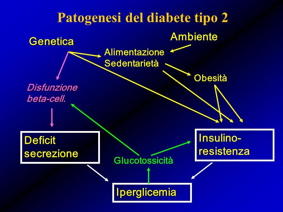 Patogenesi del diabete tipo 2 Deficit secrezione Insulino- resistenza Genetica Ambiente Alimentazione Sedentarietà Obesità Iperglicemia Glucotossicità