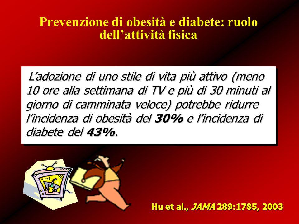 Prevenzione di obesità e diabete: ruolo dell'attività fisica L'adozione di uno stile di vita più attivo (meno 10 ore alla settimana di TV e più di 30