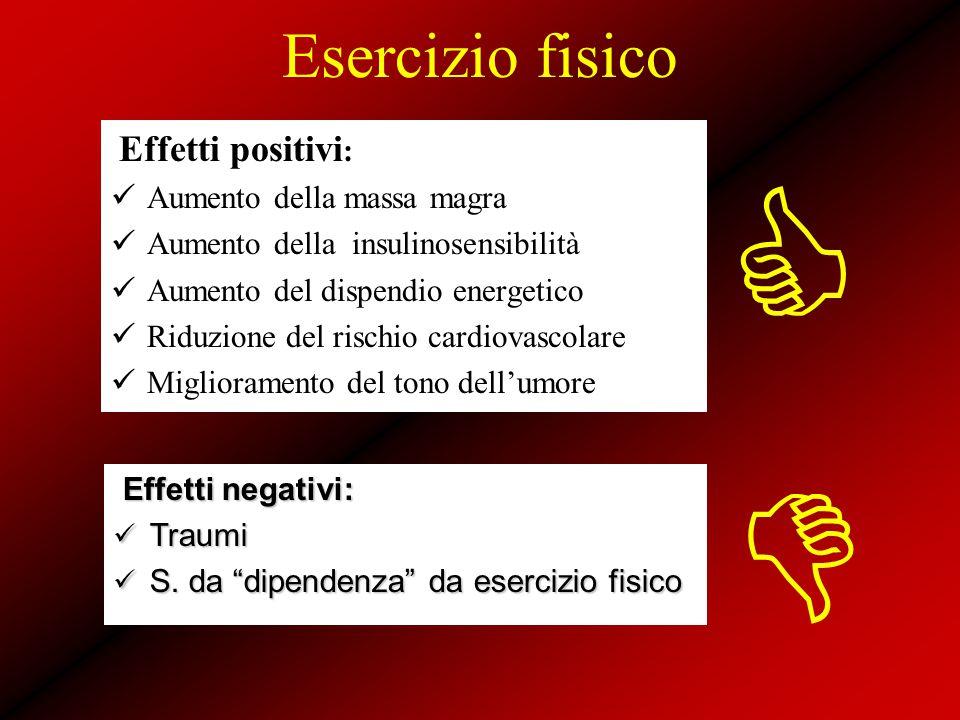 Esercizio fisico Effetti positivi : Aumento della massa magra Aumento della insulinosensibilità Aumento del dispendio energetico Riduzione del rischio