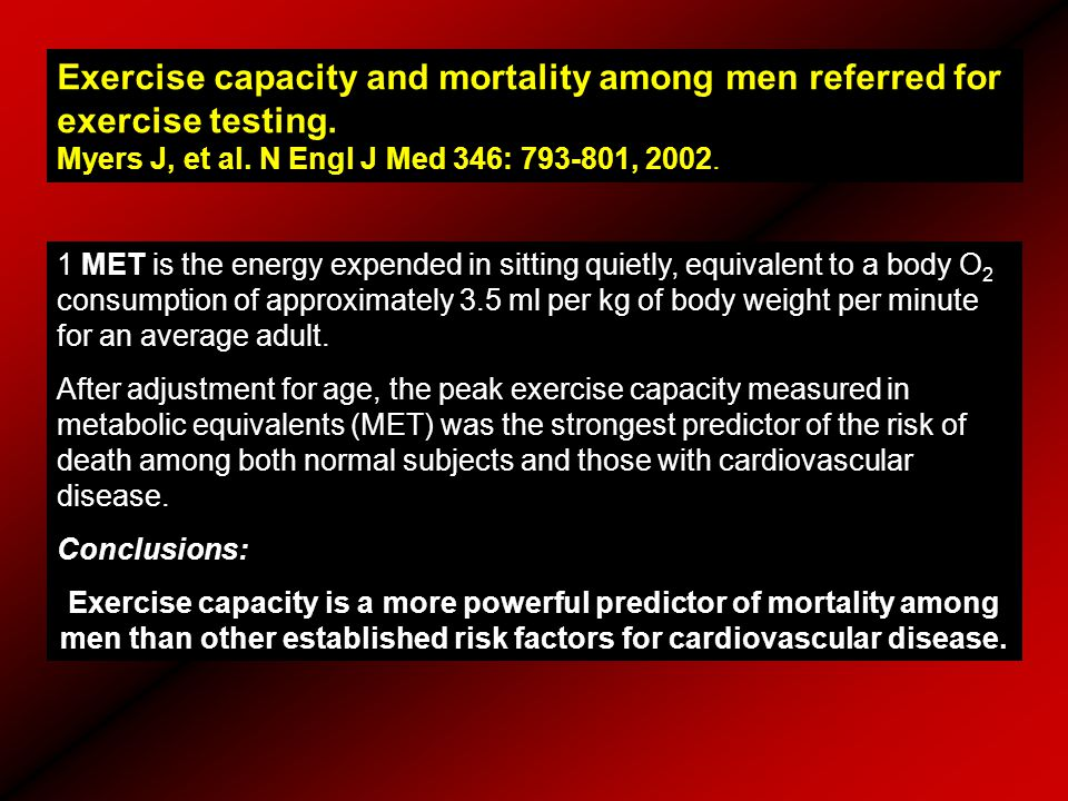 Exercise capacity and mortality among men referred for exercise testing. Myers J, et al. N Engl J Med 346: 793-801, 2002. 1 MET is the energy expended
