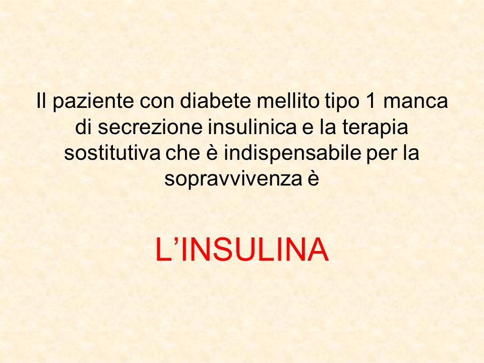 Il paziente con diabete mellito tipo 1 manca di secrezione insulinica e la terapia sostitutiva che è indispensabile per la sopravvivenza è L'INSULINA