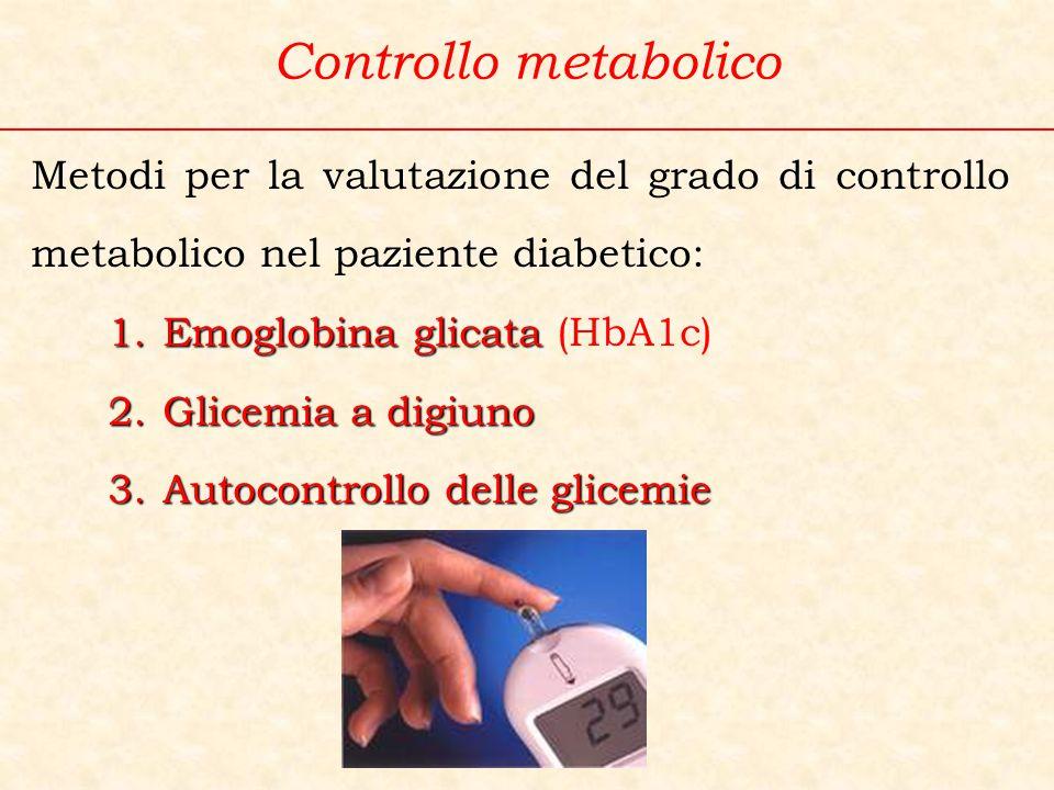 Metodi per la valutazione del grado di controllo metabolico nel paziente diabetico: 1.Emoglobina glicata 1.Emoglobina glicata (HbA1c) 2.Glicemia a dig