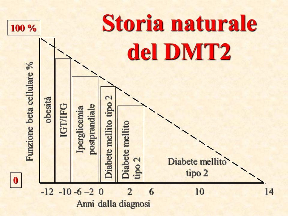 obesità 100 % 0 Funzione beta cellulare % IGT/IFG Anni dalla diagnosi Iperglicemia postprandiale Diabete mellito tipo 2 -12 -10 -6 –2 0 2 6 10 14 Diab