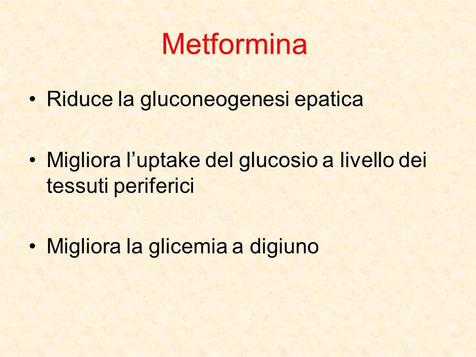 Metformina Riduce la gluconeogenesi epatica Migliora l'uptake del glucosio a livello dei tessuti periferici Migliora la glicemia a digiuno