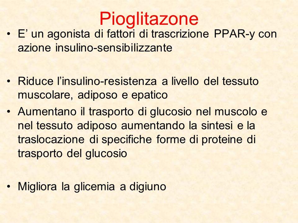 Pioglitazone E' un agonista di fattori di trascrizione PPAR-y con azione insulino-sensibilizzante Riduce l'insulino-resistenza a livello del tessuto m