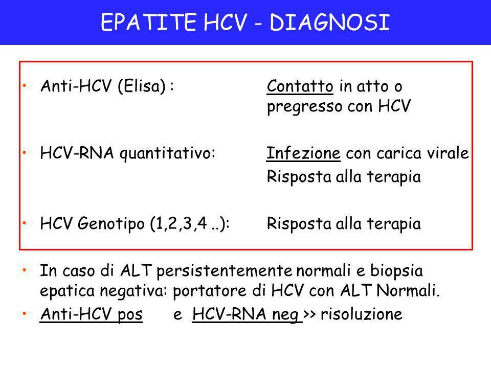 Anti-HCV (Elisa) :Contatto in atto o pregresso con HCV HCV-RNA quantitativo: Infezione con carica virale Risposta alla terapia HCV Genotipo (1,2,3,4..):Risposta alla terapia In caso di ALT persistentemente normali e biopsia epatica negativa: portatore di HCV con ALT Normali.