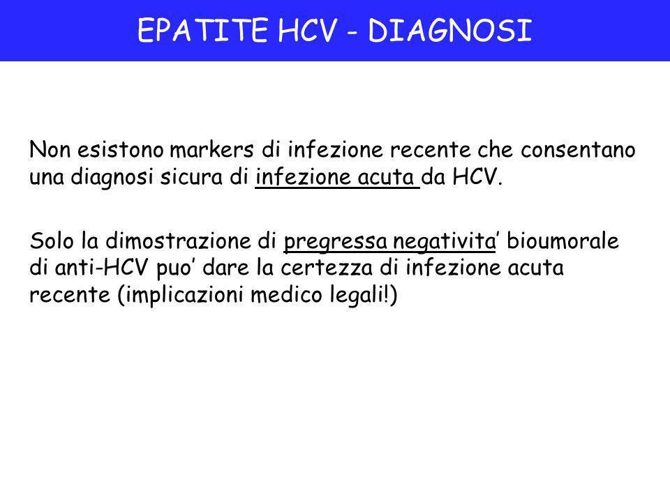 Non esistono markers di infezione recente che consentano una diagnosi sicura di infezione acuta da HCV.