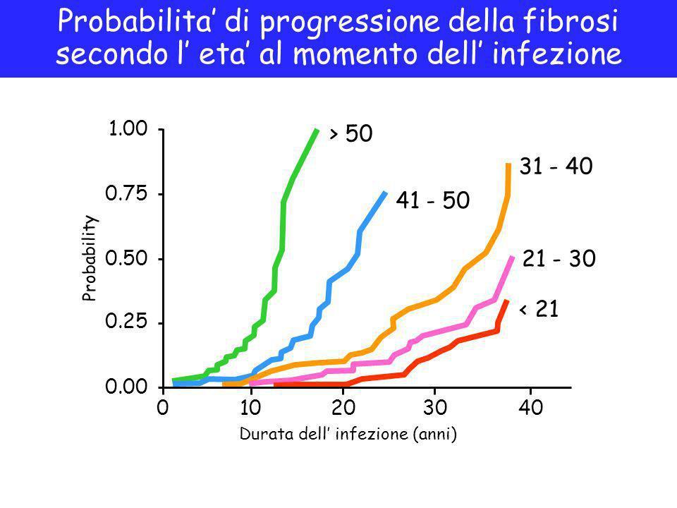 Probabilita' di progressione della fibrosi secondo l' eta' al momento dell' infezione 010203040 0.00 0.25 0.50 0.75 1.00 > 50 41 - 50 31 - 40 21 - 30 < 21 Durata dell' infezione (anni) Probability