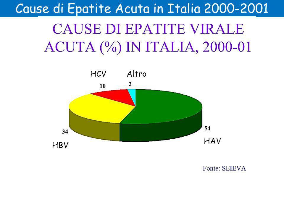 Cause di Epatite Acuta in Italia 2000-2001 HAV HCV HBV Altro