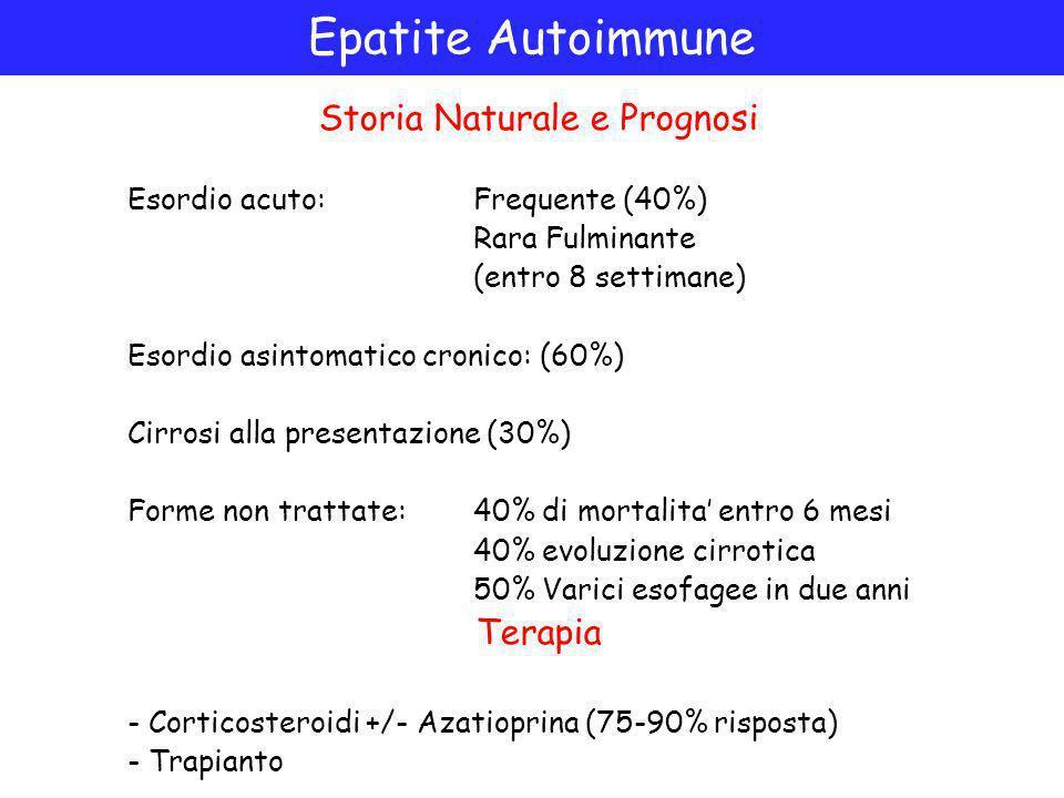 Epatite Autoimmune Storia Naturale e Prognosi Esordio acuto: Frequente (40%) Rara Fulminante (entro 8 settimane) Esordio asintomatico cronico: (60%) Cirrosi alla presentazione (30%) Forme non trattate: 40% di mortalita' entro 6 mesi 40% evoluzione cirrotica 50% Varici esofagee in due anni Terapia - Corticosteroidi +/- Azatioprina (75-90% risposta) - Trapianto