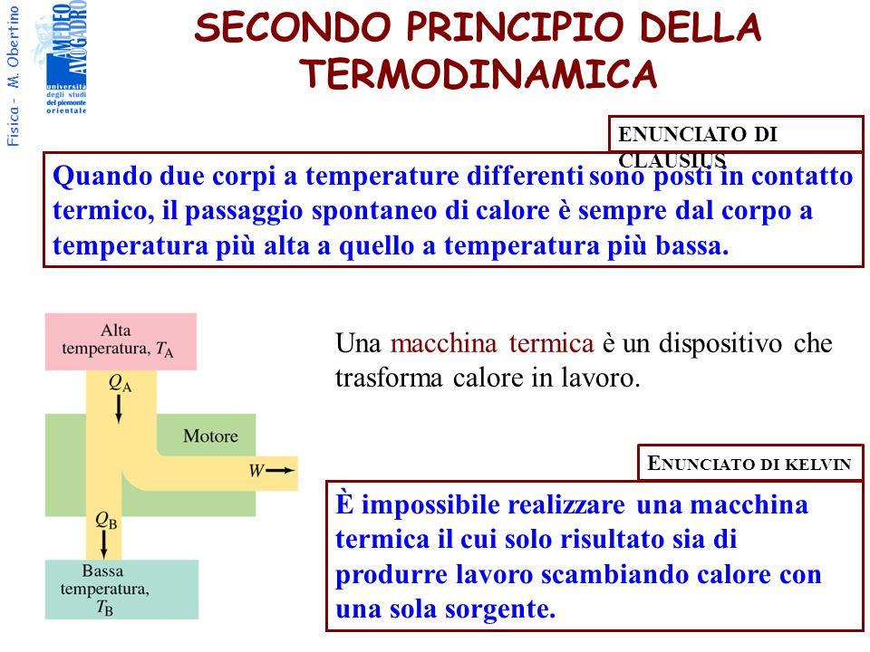 Fisica - M. Obertino SECONDO PRINCIPIO DELLA TERMODINAMICA Quando due corpi a temperature differenti sono posti in contatto termico, il passaggio spon
