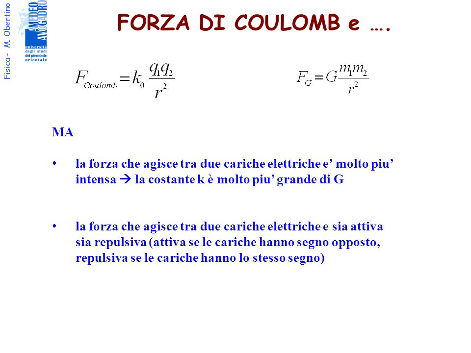 Fisica - M. Obertino FORZA DI COULOMB e …. MA la forza che agisce tra due cariche elettriche e' molto piu' intensa  la costante k è molto piu' grande