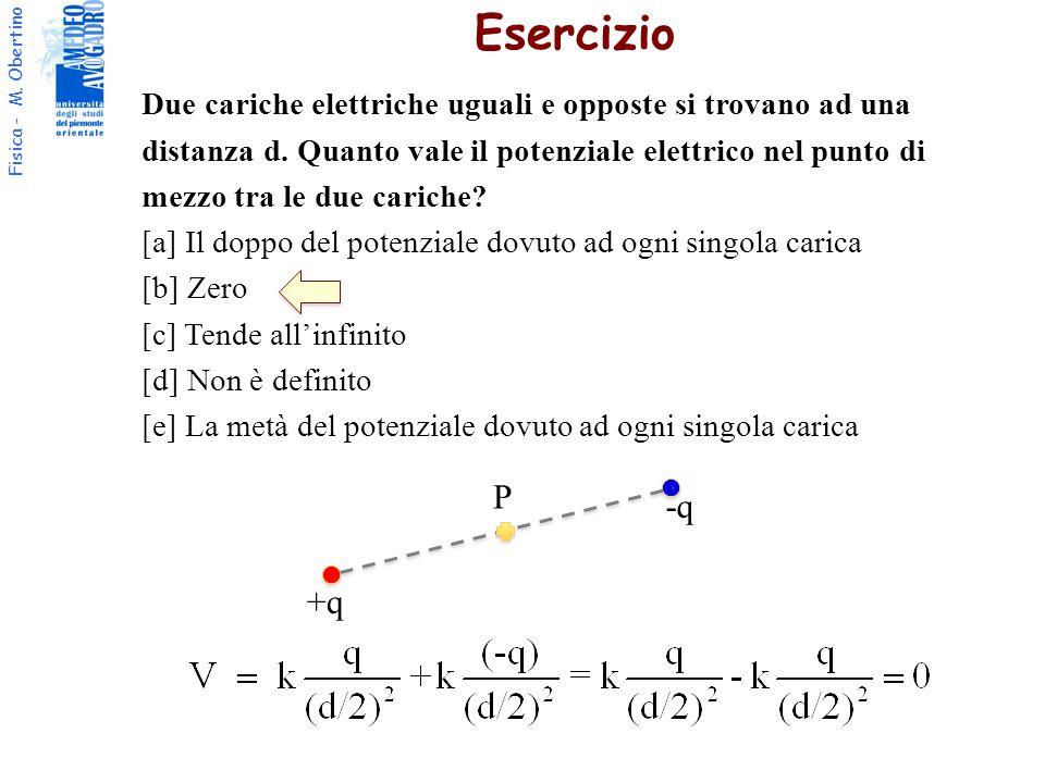 Fisica - M. Obertino Due cariche elettriche uguali e opposte si trovano ad una distanza d. Quanto vale il potenziale elettrico nel punto di mezzo tra