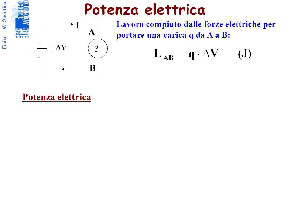 Fisica - M. Obertino I + - VV ? A B Lavoro compiuto dalle forze elettriche per portare una carica q da A a B: Potenza elettrica