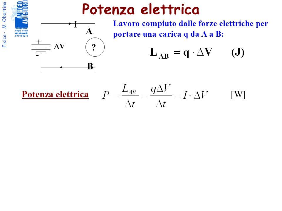 Fisica - M. Obertino I + - VV ? A B Lavoro compiuto dalle forze elettriche per portare una carica q da A a B: Potenza elettrica [W]