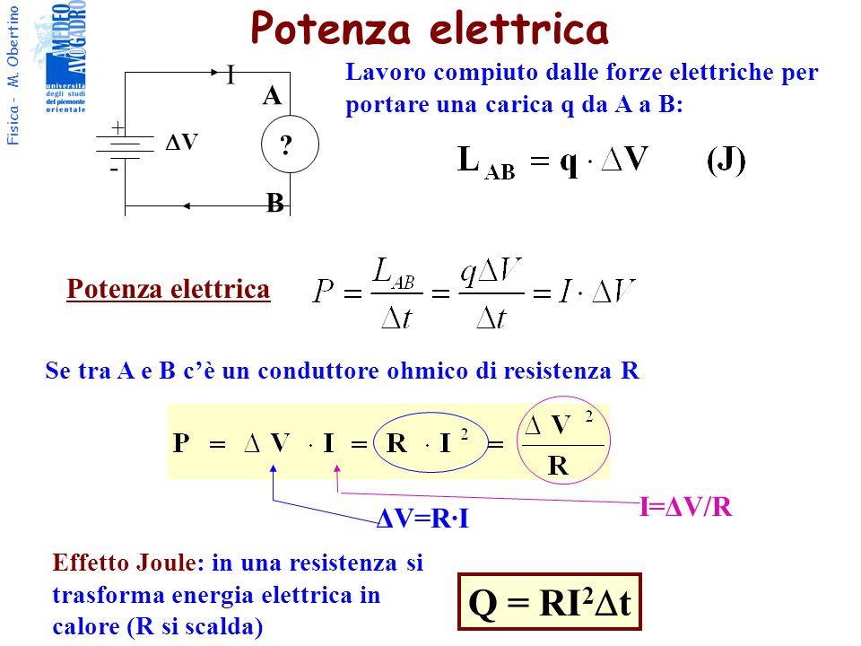 Fisica - M. Obertino I + - VV ? A B Lavoro compiuto dalle forze elettriche per portare una carica q da A a B: Potenza elettrica Se tra A e B c'è un