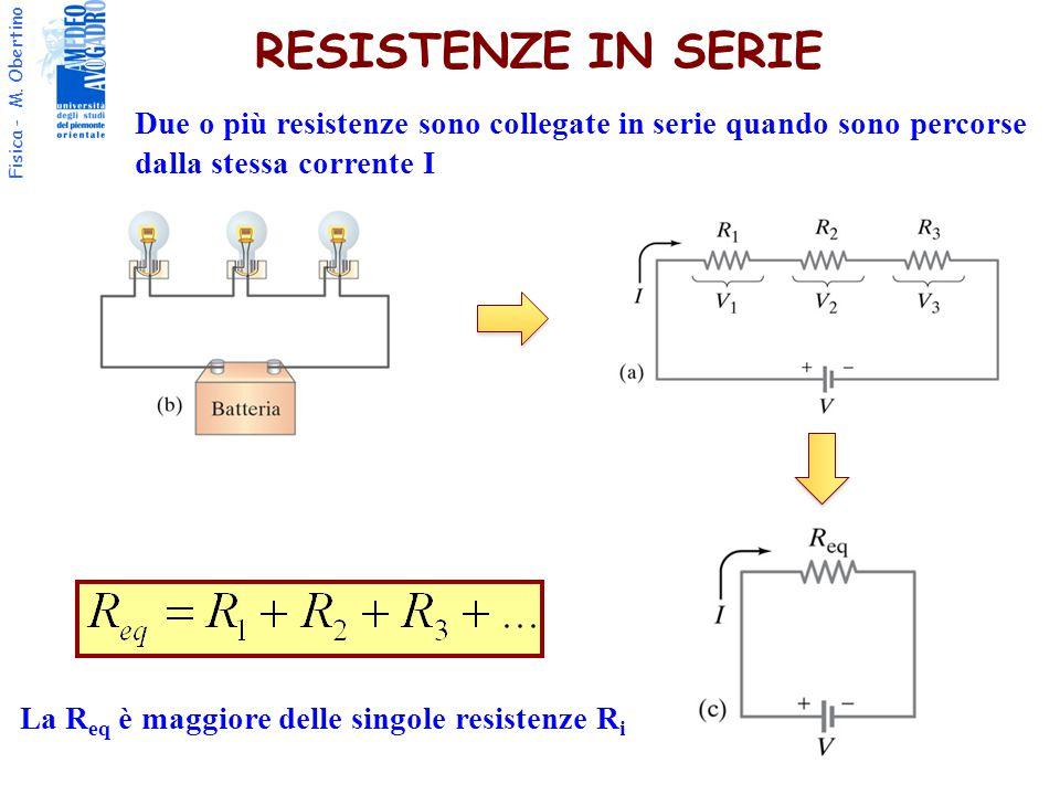 Fisica - M. Obertino RESISTENZE IN SERIE Due o più resistenze sono collegate in serie quando sono percorse dalla stessa corrente I La R eq è maggiore