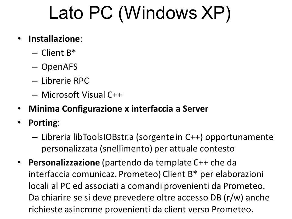 Installazione: – Client B* – OpenAFS – Librerie RPC – Microsoft Visual C++ Minima Configurazione x interfaccia a Server Porting: – Libreria libToolsIOBstr.a (sorgente in C++) opportunamente personalizzata (snellimento) per attuale contesto Personalizzazione (partendo da template C++ che da interfaccia comunicaz.