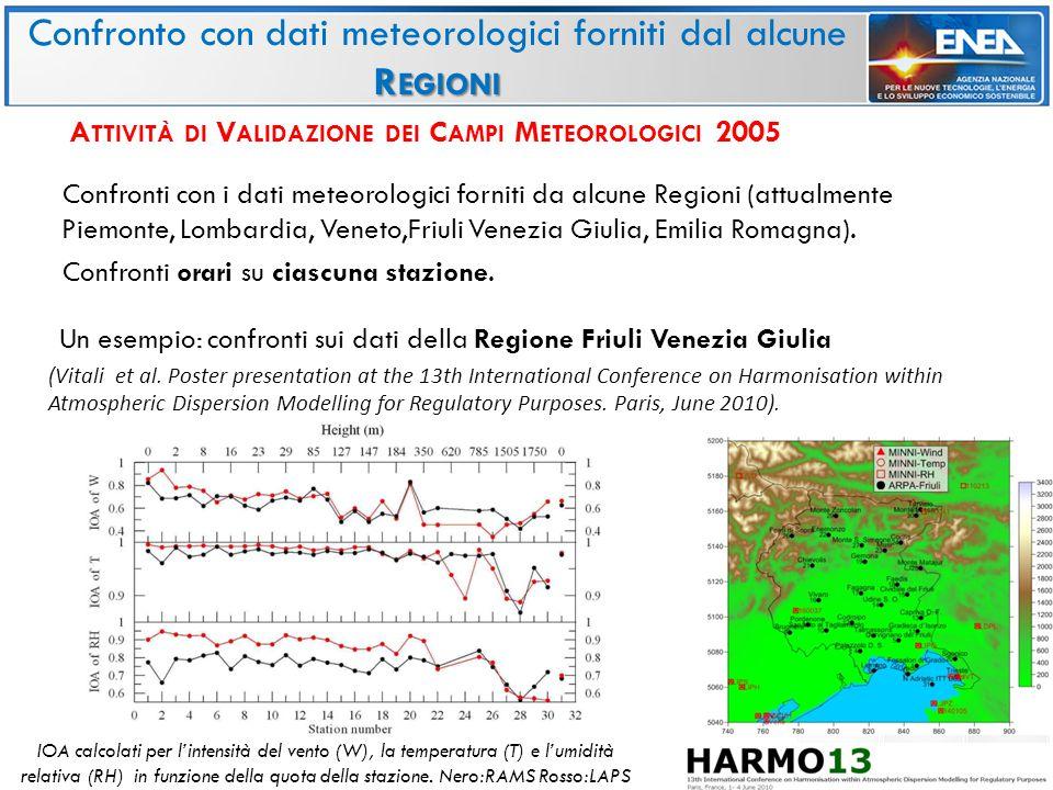 Confronti con i dati meteorologici forniti da alcune Regioni (attualmente Piemonte, Lombardia, Veneto,Friuli Venezia Giulia, Emilia Romagna).