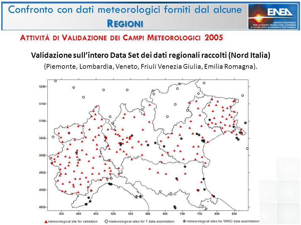 Validazione sull'intero Data Set dei dati regionali raccolti (Nord Italia) (Piemonte, Lombardia, Veneto, Friuli Venezia Giulia, Emilia Romagna).