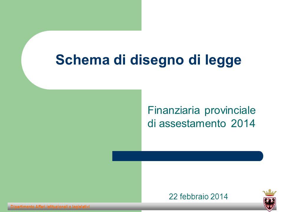 Schema di disegno di legge Finanziaria provinciale di assestamento 2014 Dipartimento Affari istituzionali e legislativi 22 febbraio 2014