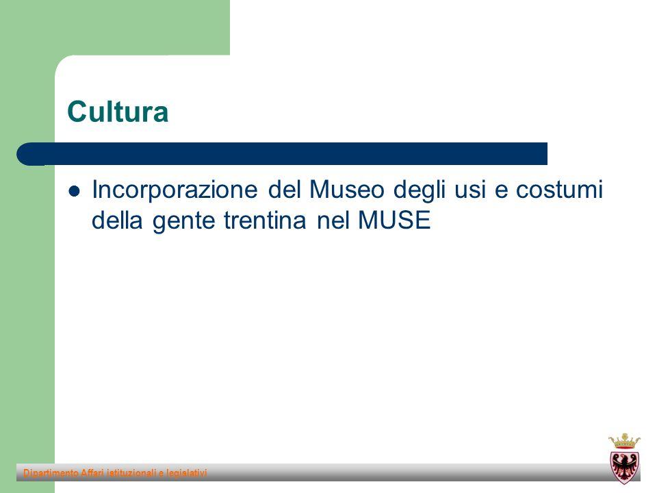 Cultura Incorporazione del Museo degli usi e costumi della gente trentina nel MUSE Dipartimento Affari istituzionali e legislativi