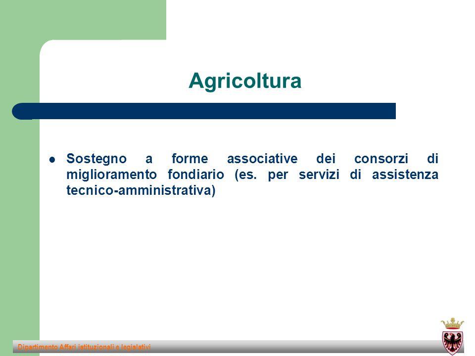 Agricoltura Sostegno a forme associative dei consorzi di miglioramento fondiario (es.