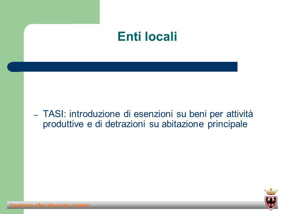 Enti locali – TASI: introduzione di esenzioni su beni per attività produttive e di detrazioni su abitazione principale Dipartimento Affari istituzionali e legislativi