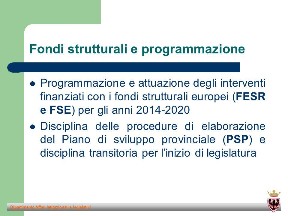 Fondi strutturali e programmazione Programmazione e attuazione degli interventi finanziati con i fondi strutturali europei (FESR e FSE) per gli anni 2014-2020 Disciplina delle procedure di elaborazione del Piano di sviluppo provinciale (PSP) e disciplina transitoria per l'inizio di legislatura Dipartimento Affari istituzionali e legislativi