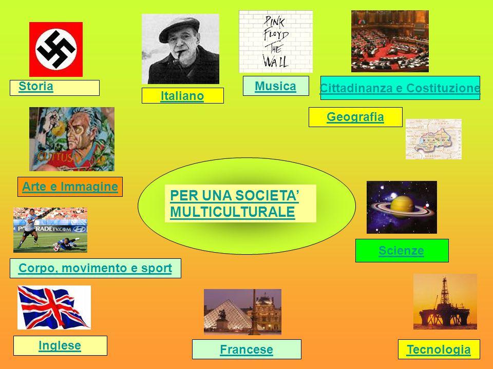 PER UNA SOCIETA' MULTICULTURALE Storia Italiano Cittadinanza e Costituzione Geografia Arte e Immagine Corpo, movimento e sport Inglese Tecnologia Scie