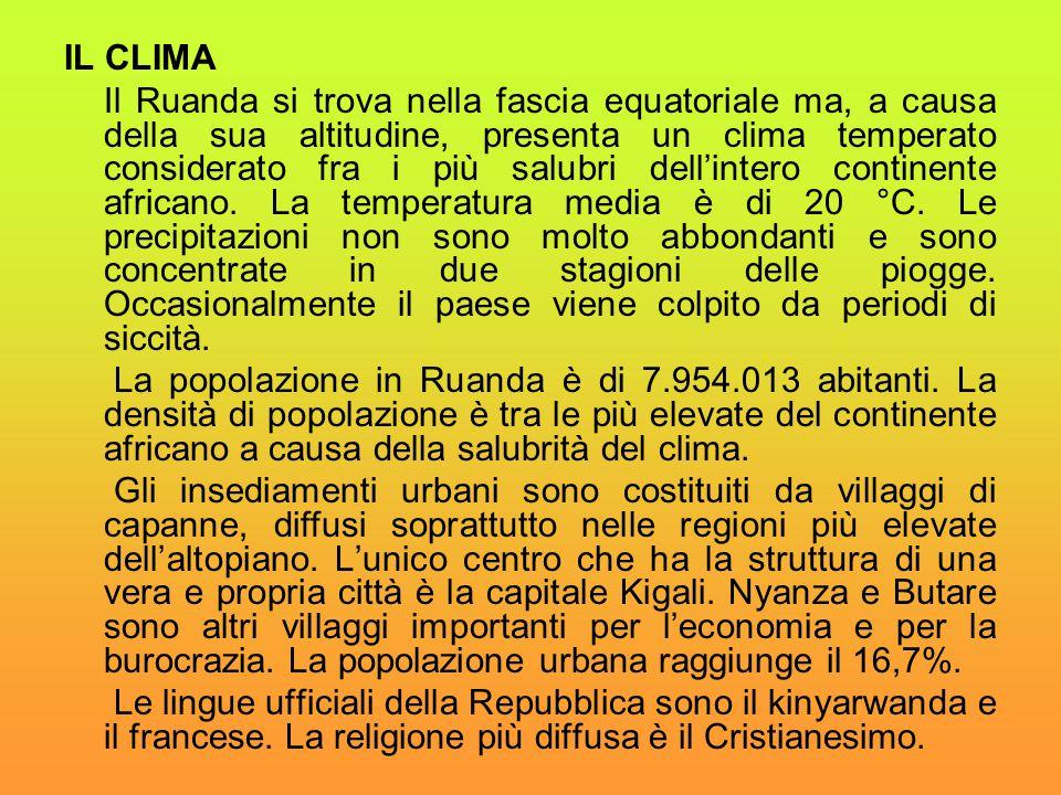 IL CLIMA Il Ruanda si trova nella fascia equatoriale ma, a causa della sua altitudine, presenta un clima temperato considerato fra i più salubri dell'