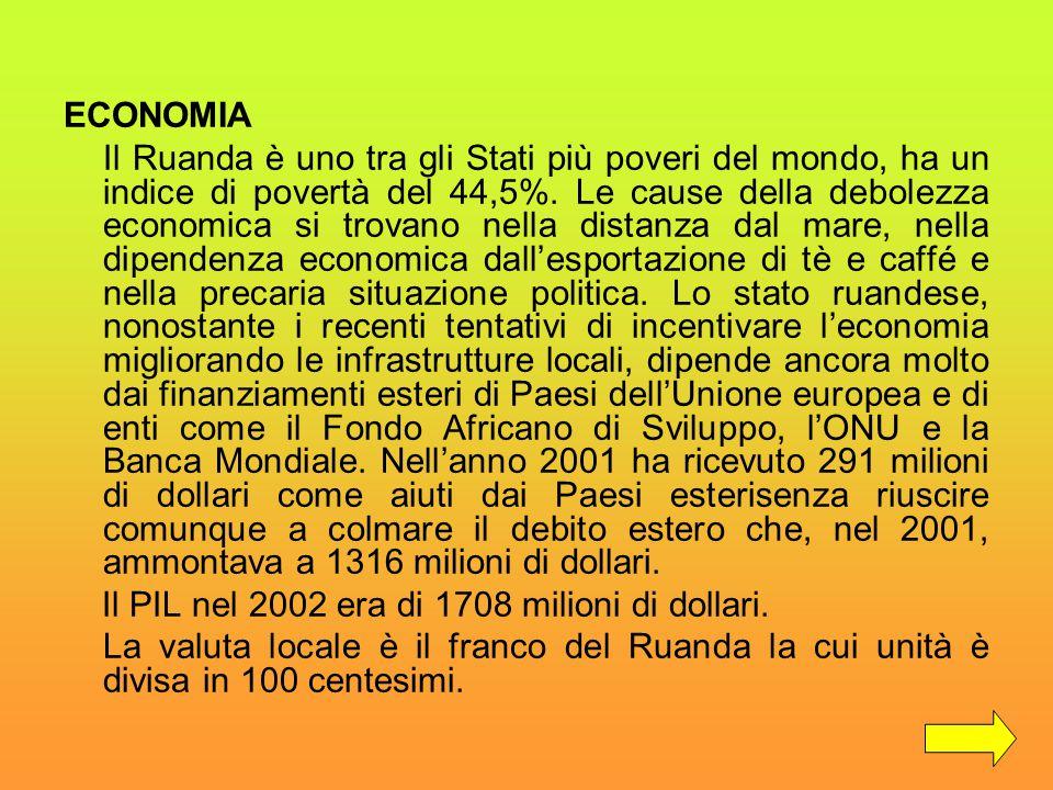 ECONOMIA Il Ruanda è uno tra gli Stati più poveri del mondo, ha un indice di povertà del 44,5%. Le cause della debolezza economica si trovano nella di