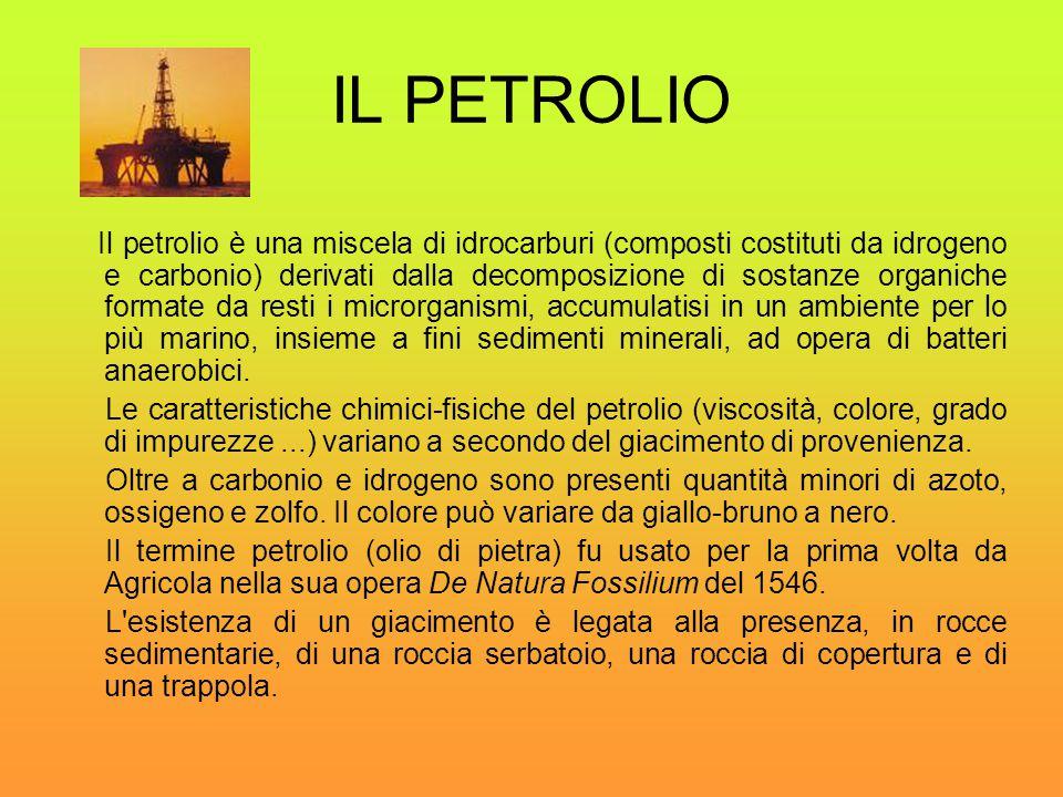 IL PETROLIO Il petrolio è una miscela di idrocarburi (composti costituti da idrogeno e carbonio) derivati dalla decomposizione di sostanze organiche f