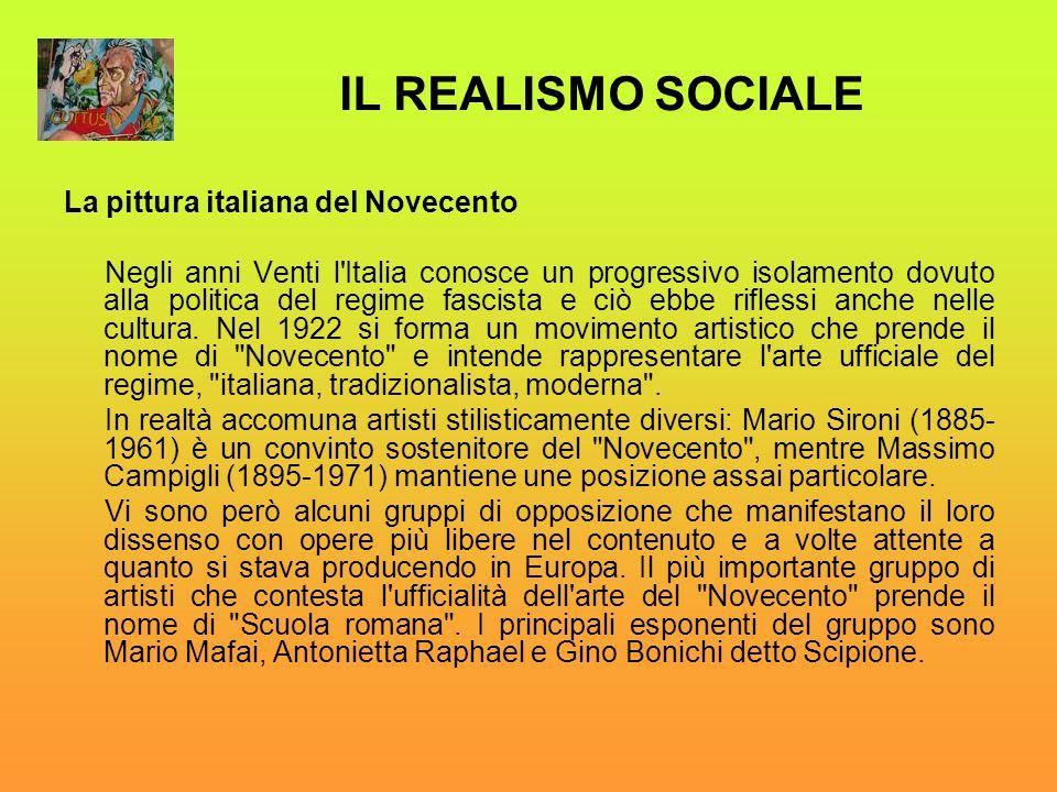 La pittura italiana del Novecento Negli anni Venti l'Italia conosce un progressivo isolamento dovuto alla politica del regime fascista e ciò ebbe rifl