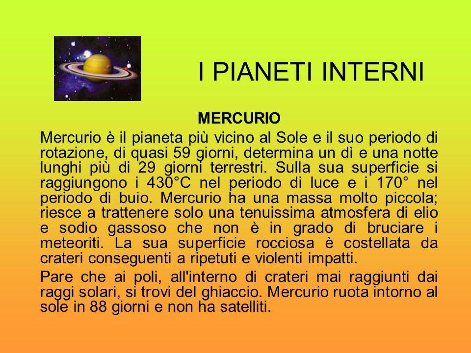 I PIANETI INTERNI MERCURIO Mercurio è il pianeta più vicino al Sole e il suo periodo di rotazione, di quasi 59 giorni, determina un dì e una notte lun