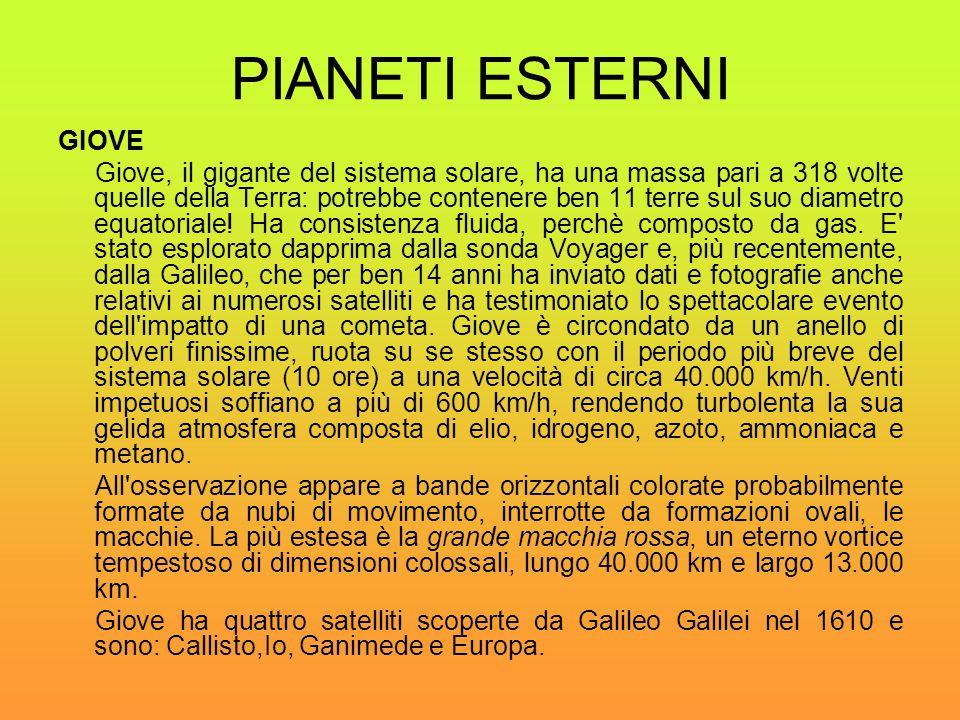 PIANETI ESTERNI GIOVE Giove, il gigante del sistema solare, ha una massa pari a 318 volte quelle della Terra: potrebbe contenere ben 11 terre sul suo