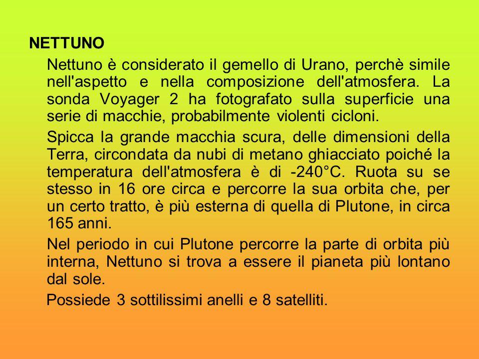NETTUNO Nettuno è considerato il gemello di Urano, perchè simile nell'aspetto e nella composizione dell'atmosfera. La sonda Voyager 2 ha fotografato s