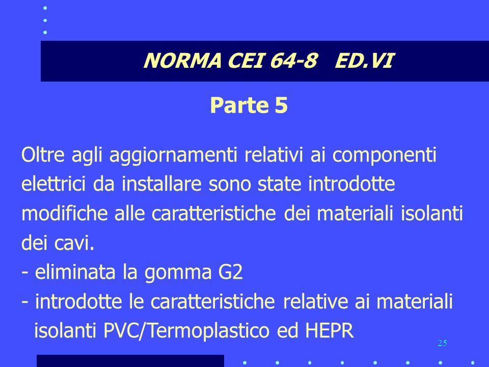 25 NORMA CEI 64-8 ED.VI Parte 5 Oltre agli aggiornamenti relativi ai componenti elettrici da installare sono state introdotte modifiche alle caratteristiche dei materiali isolanti dei cavi.