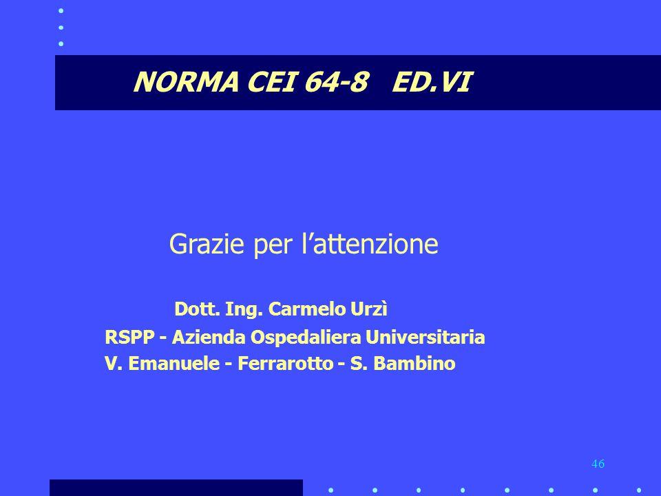 46 NORMA CEI 64-8 ED.VI Grazie per l'attenzione Dott.