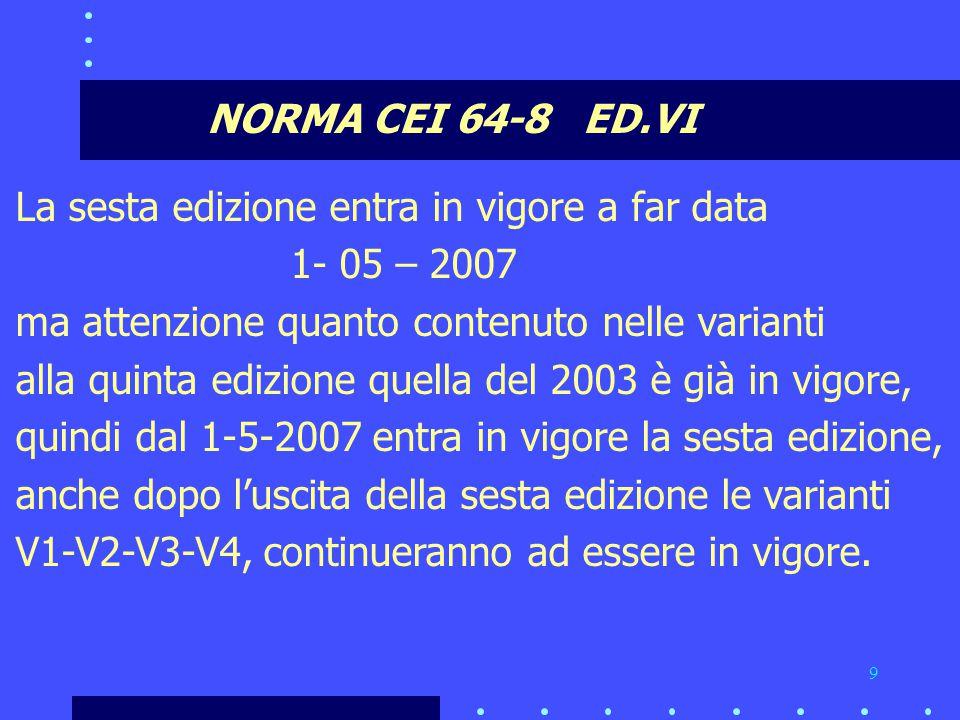9 NORMA CEI 64-8 ED.VI La sesta edizione entra in vigore a far data 1- 05 – 2007 ma attenzione quanto contenuto nelle varianti alla quinta edizione quella del 2003 è già in vigore, quindi dal 1-5-2007 entra in vigore la sesta edizione, anche dopo l'uscita della sesta edizione le varianti V1-V2-V3-V4, continueranno ad essere in vigore.