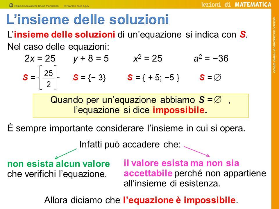 L'insieme delle soluzioni di un'equazione si indica con S.