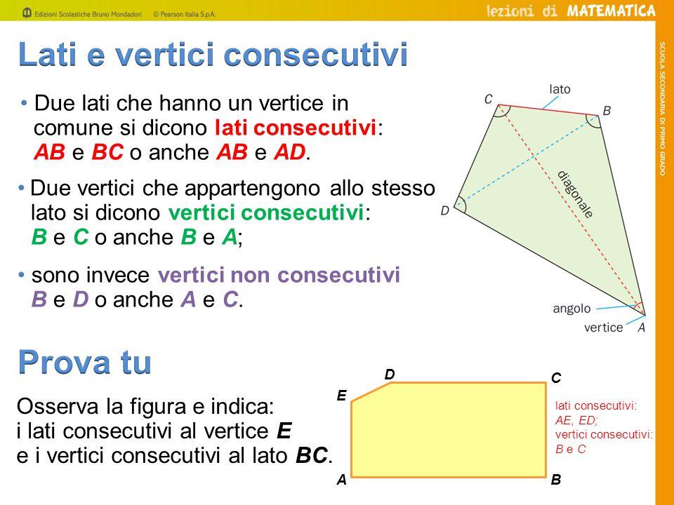 Due lati che hanno un vertice in comune si dicono lati consecutivi: AB e BC o anche AB e AD. Due vertici che appartengono allo stesso lato si dicono v