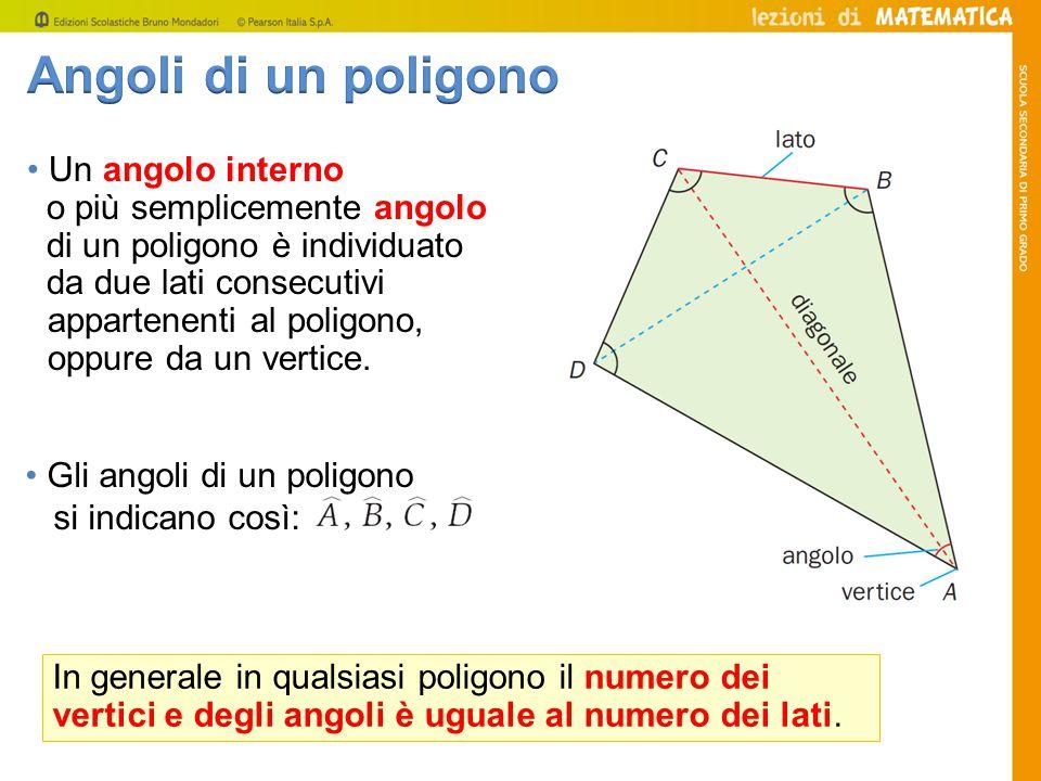 Gli angoli di un poligono si indicano così: In generale in qualsiasi poligono il numero dei vertici e degli angoli è uguale al numero dei lati. Un ang