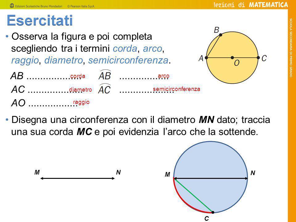 Osserva la figura e poi completa scegliendo tra i termini corda, arco, raggio, diametro, semicirconferenza.