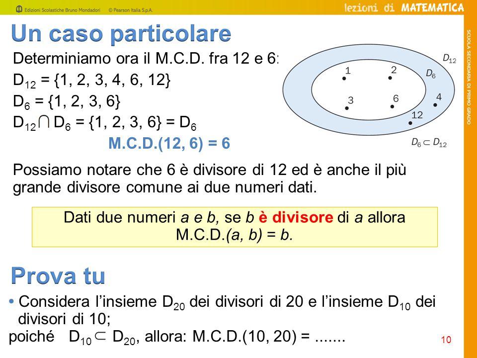Consideriamo la tabella dei divisori di un numero naturale n diverso da 0.