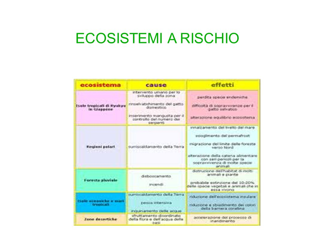 ECOSISTEMI A RISCHIO